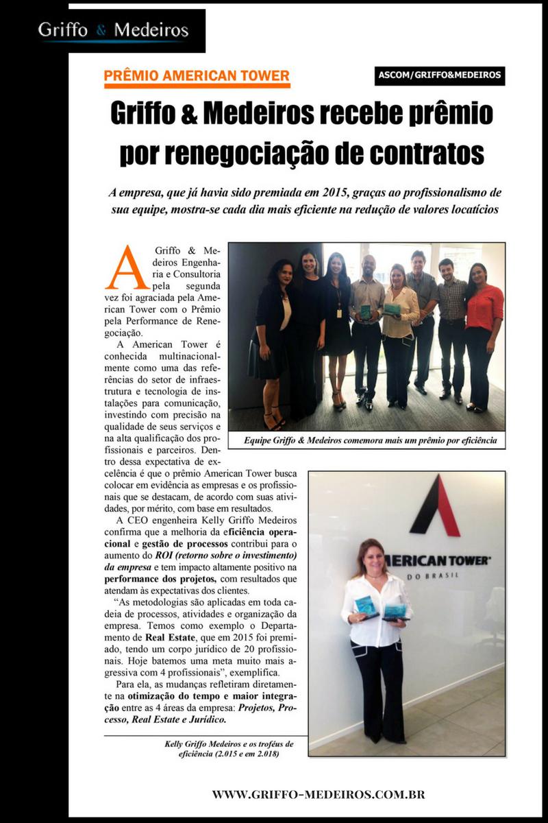 Equipe Griffo & Medeiros Recebe Prêmio American Tower